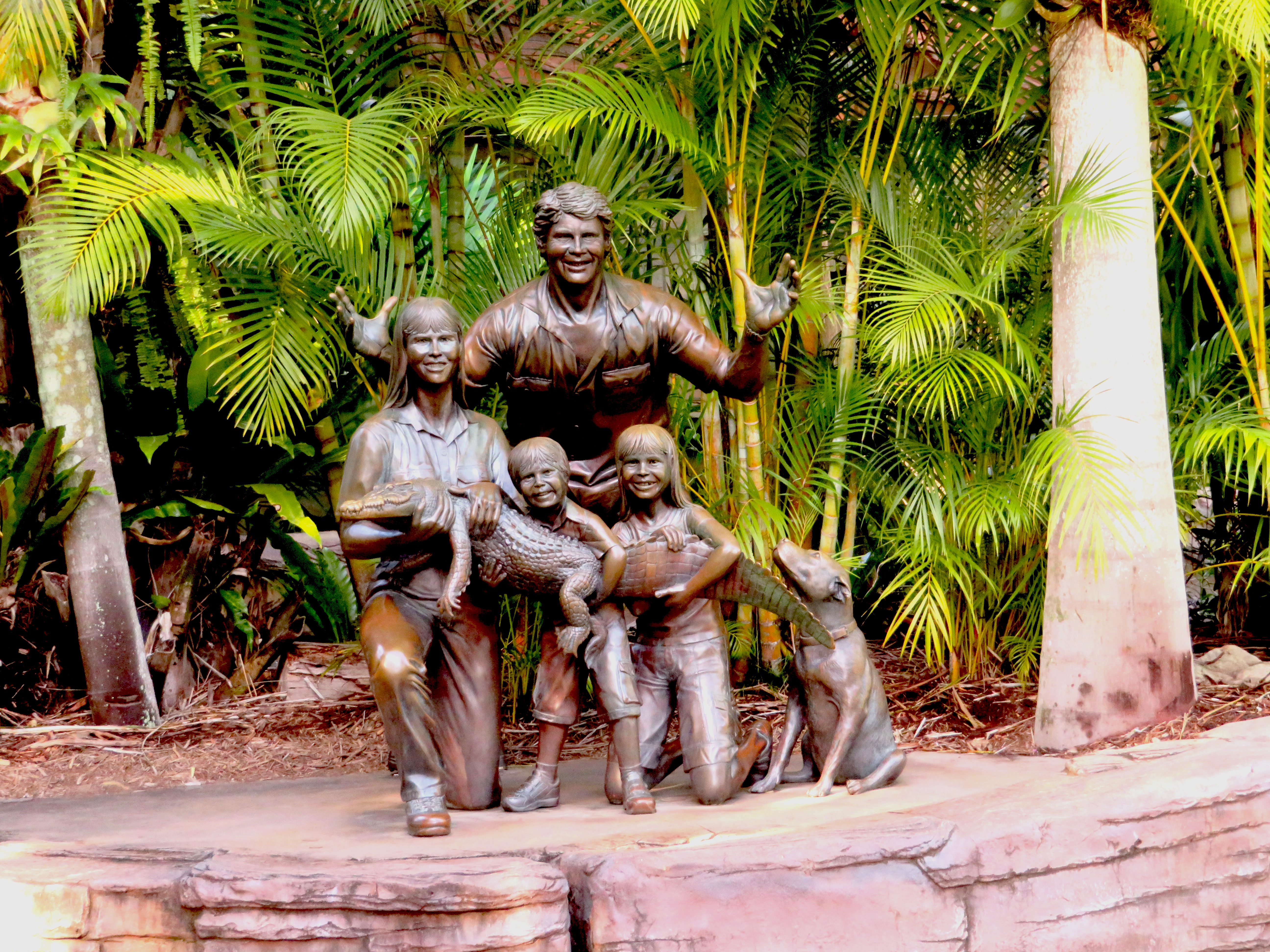 Statue of Steve Erwin and his family at the Australia Zoo.